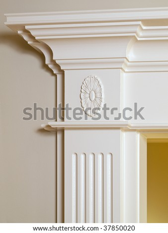 Luxury Home ceiling column white ornamental moulding detail - stock photo
