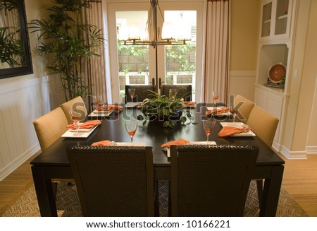 Luxury home dining table with modern decor.