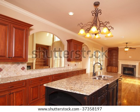 Luxury Home extended kitchen with granite island