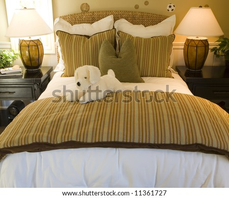 Luxury home kids bedroom with toy dog.