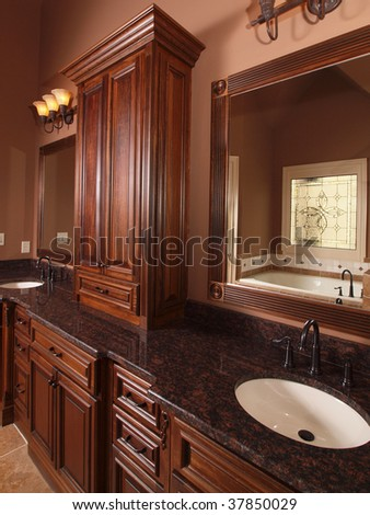 Luxury Home Tile Bathroom wood cabinets and double sink