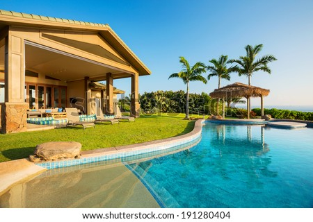 Luxury home with swimming pool, Tropical Villa Resort  - stock photo