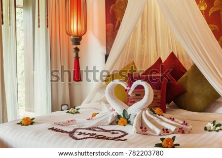 Luxury Hotel Bedroom Interior With Honeymoon Decoration