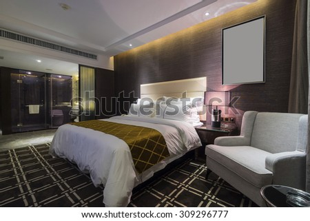 luxury hotel bedroom with nice decoration