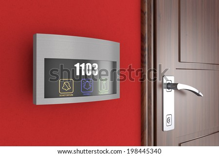 Luxury Hotel Electronic Doorplate Touch Doorbell Switch with Room Number Display