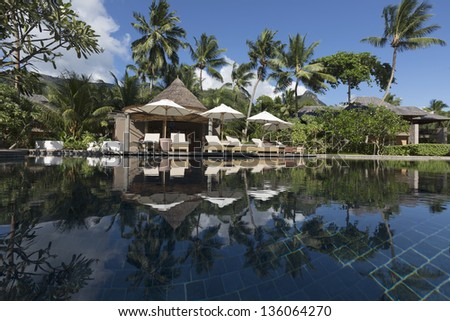 Luxury hotel in Seychelles. Fine place for tourism and rest. - stock photo