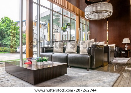 luxury hotel lobby and furniture with modern design style interior - stock photo