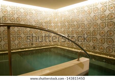 luxury hotel public bathhouse or bathroom interior - stock photo