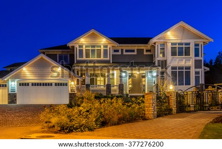Luxury house at night in Vancouver, Canada. - stock photo