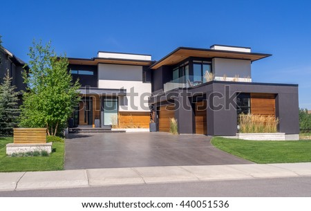 Luxury house sunny day calgary canada stock photo for Modern day houses for sale