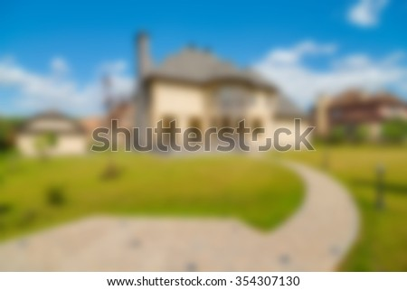 Luxury house exterior theme creative abstract blur background with bokeh effect - stock photo