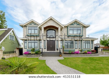 Luxury House Exterior luxury house beautiful landscaping on sunny stock photo 448870624