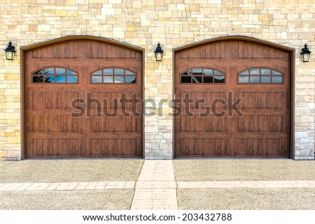 Luxury house with double garage door in Vancouver, Canada. - stock photo