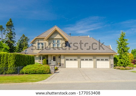 Luxury house with gorgeous outdoor landscape in Vancouver, Canada. - stock photo