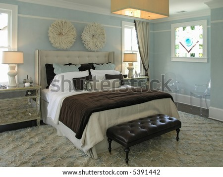 Luxury House with regal elegant bed room - stock photo