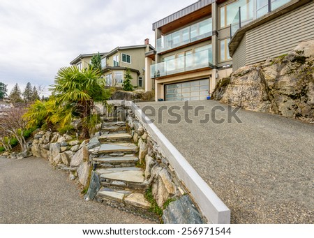 Luxury house with stone stair in front in Vancouver, Canada - stock photo