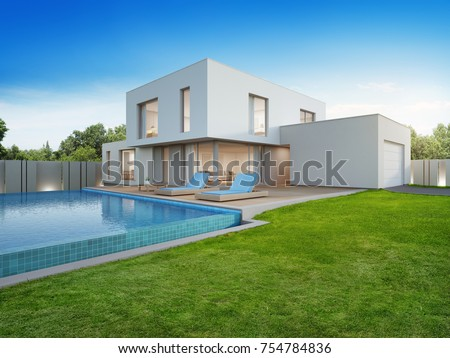 Luxury house swimming pool terrace near stock illustration - Large holiday homes with swimming pool ...