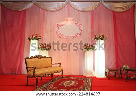 Luxury Indoors Wedding Stage with Golden vintage chair