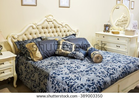 Luxury Interior.Antique  Bed in baroque