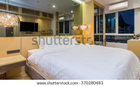 Luxury Interior bedroom with blue sky at twilight time