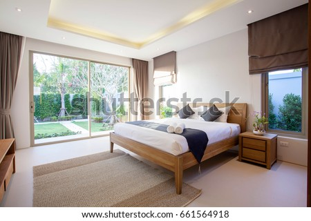 Bedroom stock images royalty free images vectors for Interior design bedroom with pool