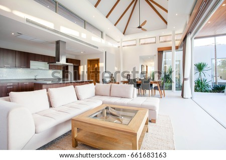 Luxury Interior Design In Living Room Of Pool Villas. Airy And Bright Space  With High Part 89