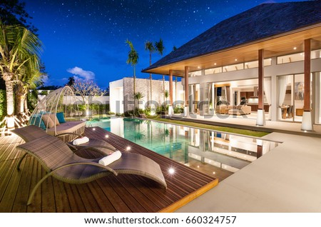 luxury interior design pool villa with livingroom - Luxury House Exterior