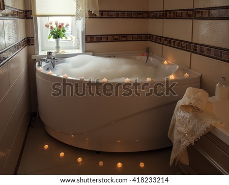 Luxury Jacuzzi with bubble bath  candles and flowers. Whirlpool Bath Stock Photos  Royalty Free Images   Vectors
