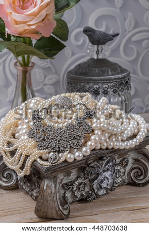 Luxury jewelry box with jewelry. Pearls, Crystals