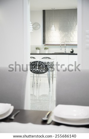 Luxury kitchen and dining room in modern style - stock photo