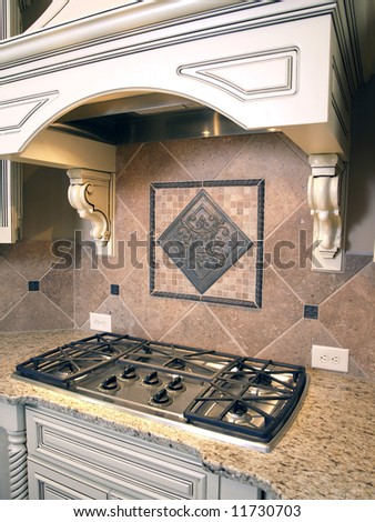 Luxury Kitchen Cooktop Burners with Ornate Hood