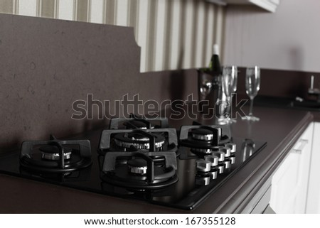 luxury kitchen interior with modern furniture - stock photo