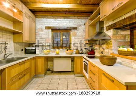 luxury kitchen of a traditional style decoration villa