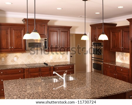 Luxury Kitchen with granite counter top center Island - stock photo