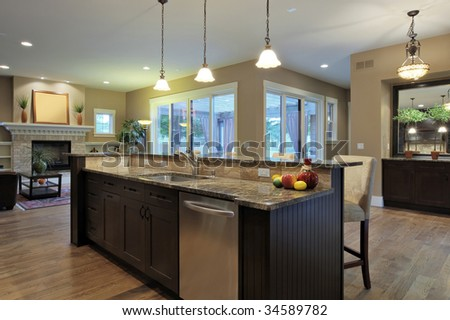 Luxury kitchen with granite countertops - stock photo