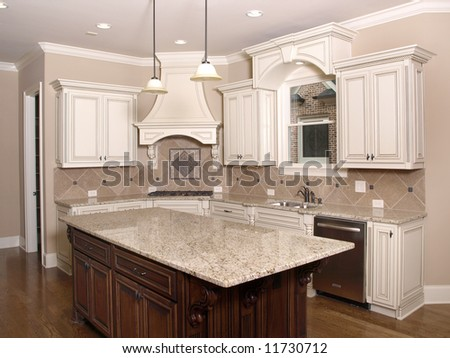 Luxury Kitchen with Granite topped Island
