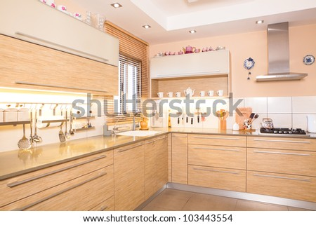 Luxury kitchen with marble elements - stock photo