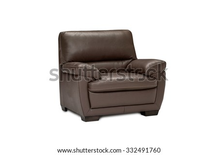 Luxury leather brown armchair isolated on white background