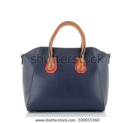 luxury  leather female bag isolated on white - stock photo