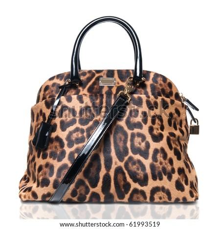 luxury leopard female bag isolated on white - stock photo