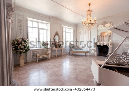 Luxury Light Interior Sitting Room Old Stock Photo (100% Legal ...