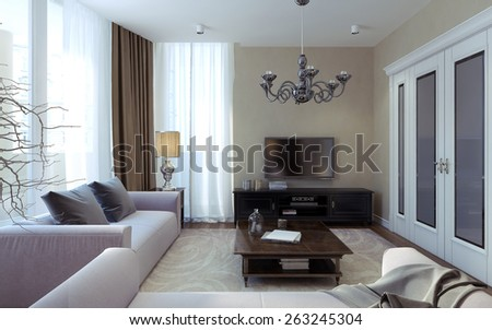 Luxury living room art deco and modern style. 3D render - stock photo