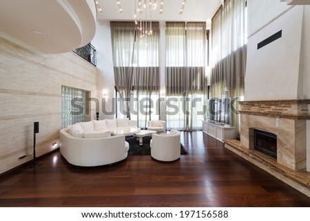 Luxury living room interior - stock photo