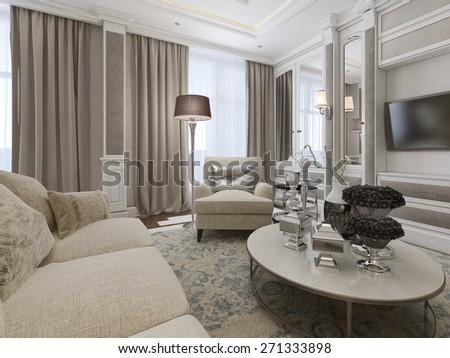 Luxury living room interior. 3d render - stock photo