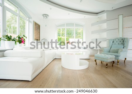 Luxury living room interior in pastel colors - stock photo