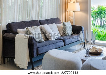 luxury living room with blue sofa - stock photo