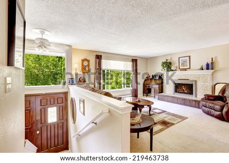 Luxury living room with fireplace and antique elements. View of entrance door with mosaic glass - stock photo