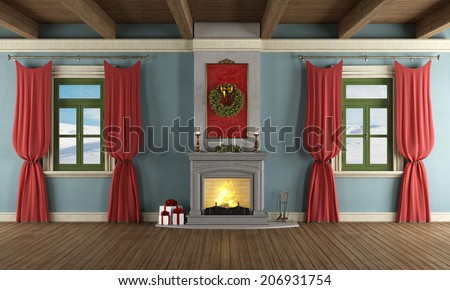 Luxury living room with fireplace and christmas decor - rendering - stock photo