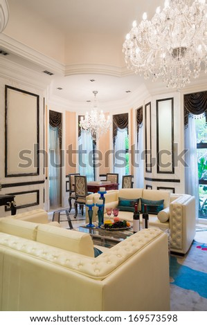 luxury living room with nice decoration - stock photo