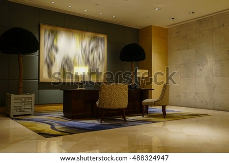 Luxury lobby interior.With crystal lamp,bing hall, marble floor, french sash,mosaic tile,comfortable sofa,reception desk, etc.